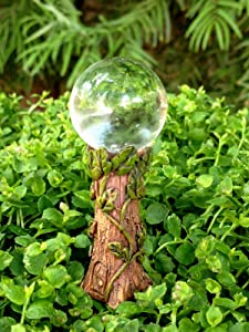 Miniature Dollhouse FAIRY GARDEN ~ Gazing Ball Pick w Clear Glass & Vine Detail Fairy Garden, Micro Landscape, Craft Decor