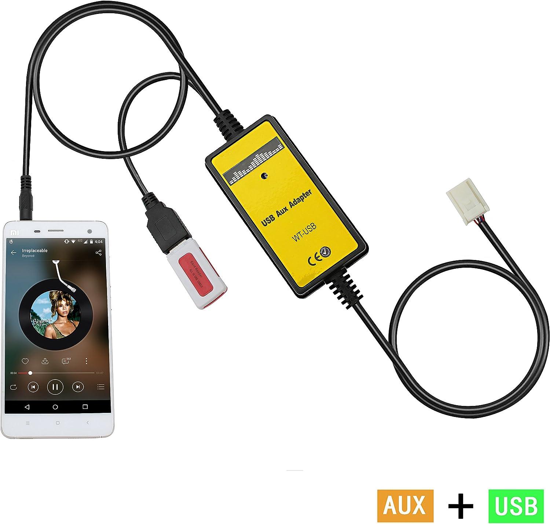 Avensis 2003-2011 Auxillary Adapter,Yomikoo Car Radio MP3 WMA USB Music Adapter Auxiliary Audio Interface for Auris 2007-2011 Corolla 2005-2011 Tacoma 2004-2008