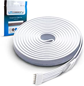 Litcessory Extension Cable for Philips Hue Lightstrip Plus (10ft, 1 Pack, White)