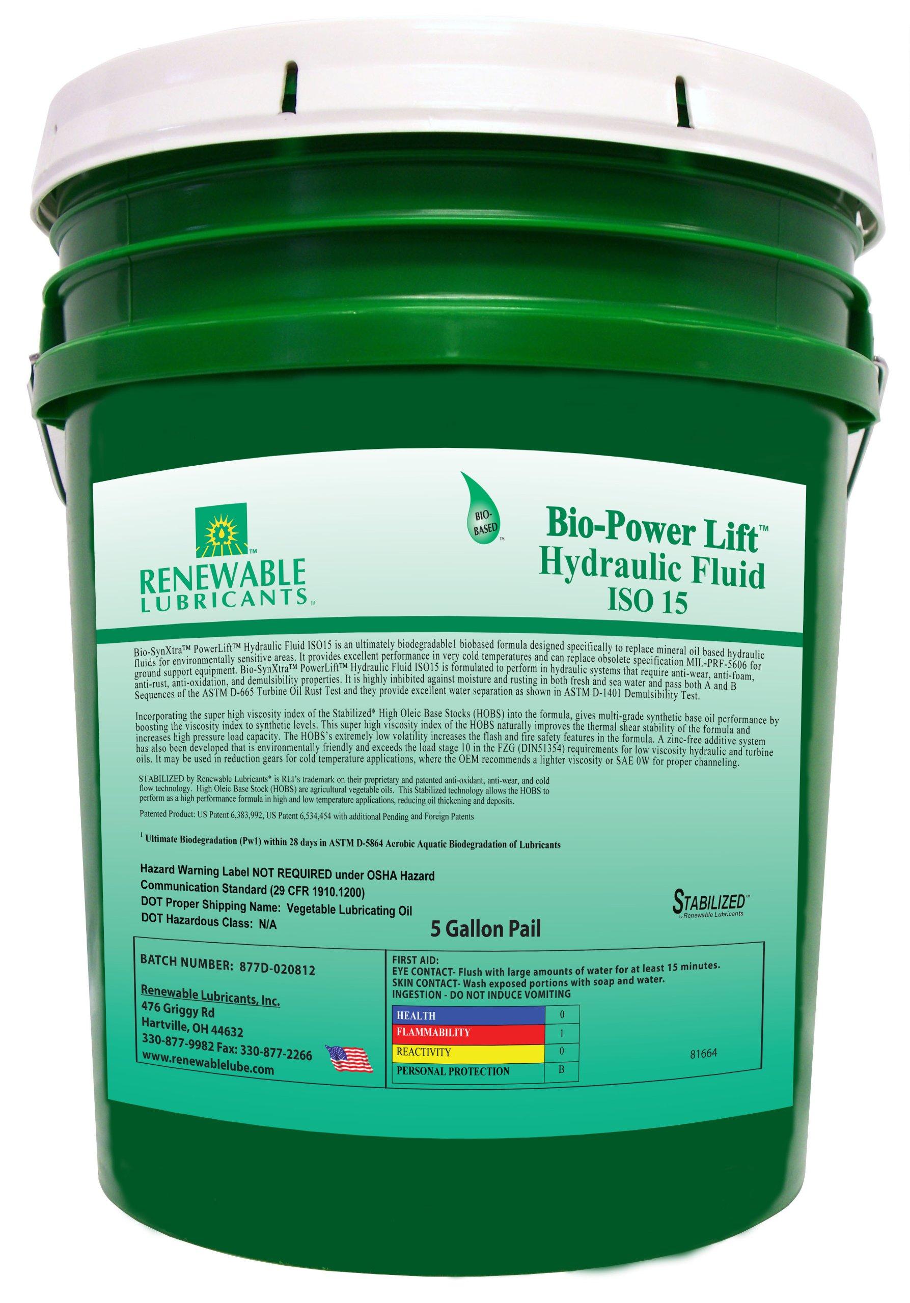 Renewable Lubricants Bio-SynXtra PowerLift Hydraulic Fluid, 5 Gallon Pail