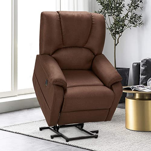Esirght Electric Power Lift Recliner Chair Sofa with Massage and Heat for Elderly, Microfiber Recliner Chair with Side Pockets USB Port, Brown