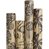 RUSPEPA Kraft Wrapping Paper Roll - Black Tropical Summer Elements Printed Great for Congrats, Holiday and Special…