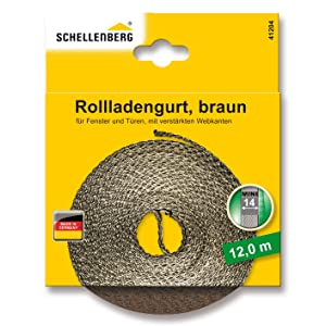 Schellenberg 41104 - Cinta de persiana (14 mm de ancho, 12 m) color marrón