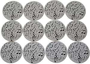 """Novel Merk Music Notes Refrigerator Magnets – Vinyl 3"""" Round Magnets for Fridge, Lockers, Home Kitchen and Music Decor – Self Adhesive to Metal Surfaces and Some Interior Stainless Steel (12 Pack)"""