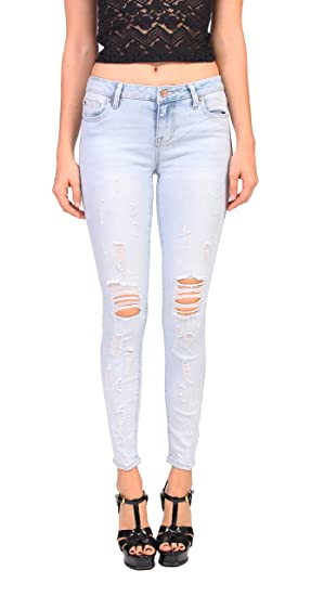 34db62a18f4 Amazon.com: Celebrity Pink Jeans Women Distressed Ankle Skinny Jeans ...