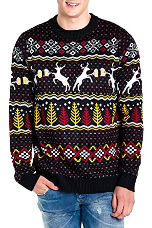 6d18166ec9a72d Tipsy Elves Men's Deer with Beer Christmas Sweater - Black Caribrew Ugly  Christmas Sweater: Small