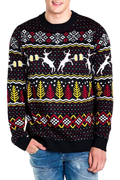 Mens Christmas Sweater.Tipsy Elves Men S Deer With Beer Christmas Sweater Black Caribrew Ugly Christmas Sweater