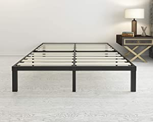 45MinST 14 Inch Wood Slat Metal Platform Bed Frame/Easy Assembly Mattress Foundation/3000lbs Heavy Duty/Noise Free/No Box Spring Needed, King