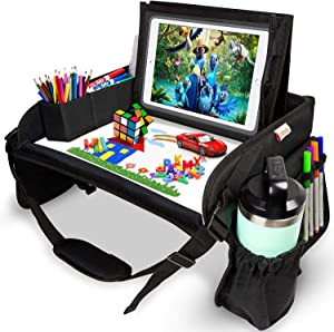 Lamela Kids Travel Tray - Kids Car Seat Lap Tray for Toddler & Kids Car Seat Activities - Learn, Play & Draw with Sturdy Dry Erase Board, Pockets for Cups, Tablet Holder Stand & Kids Stuff Organizer