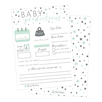50 Mint Stars Advice And Prediction Cards For Baby Shower Game, New Mom U0026  Dad