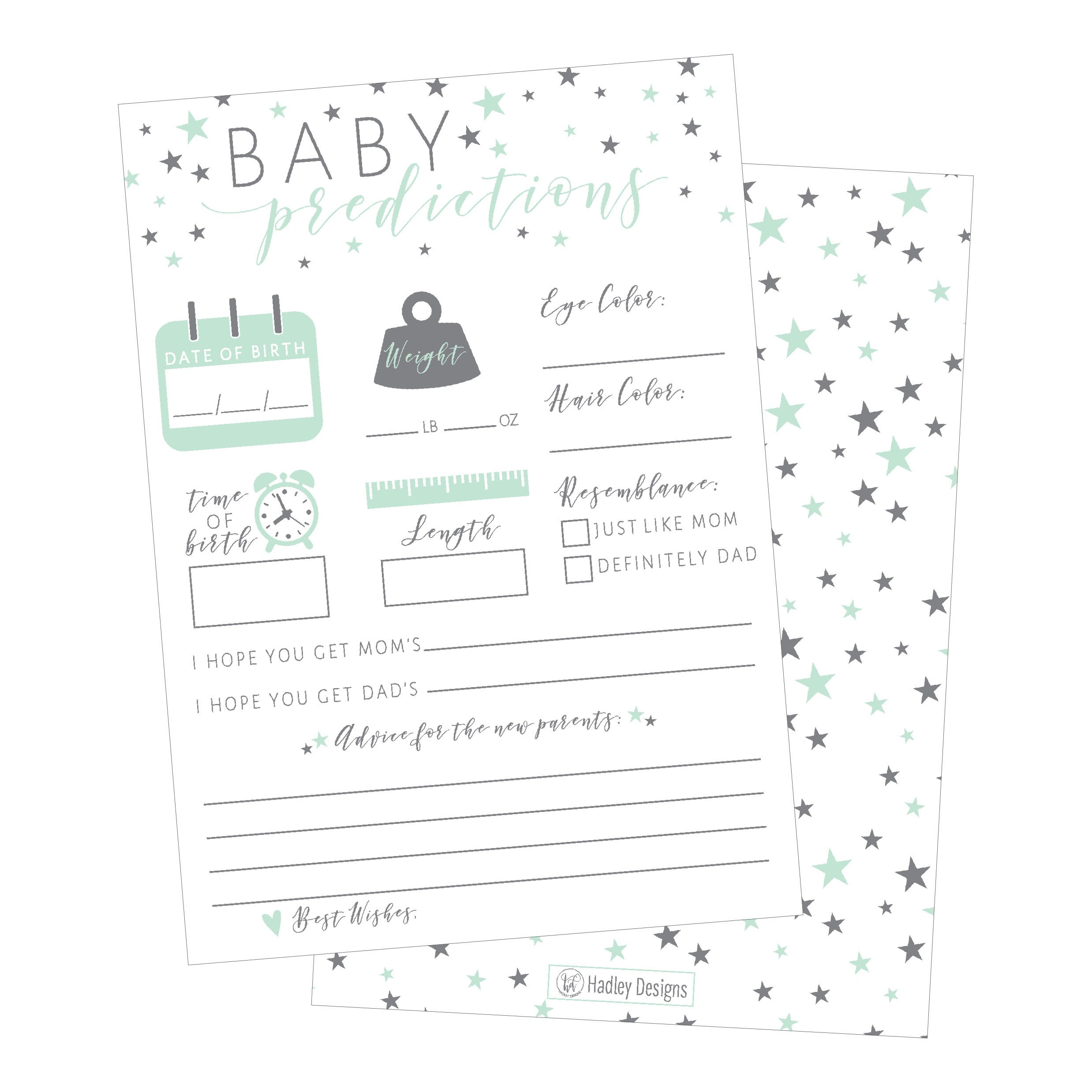 50 Mint Stars Advice and Prediction Cards for Baby Shower Game, New Mom & Dad Card or Mommy & Daddy To Be, For Girl or Boy Babies New Parent Message Advice Book, Fun Gender Neutral Shower Party Favors