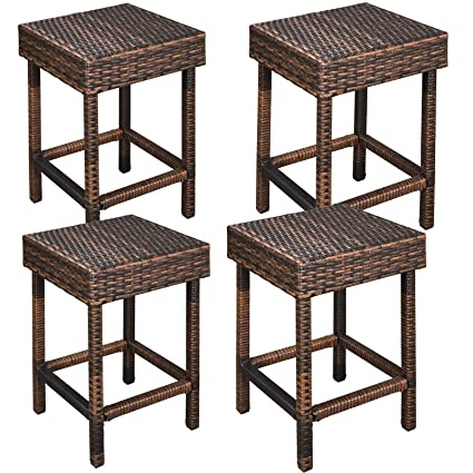 Amazoncom Zeny Wicker Bar Stools Backless Chair Outdoor Furniture