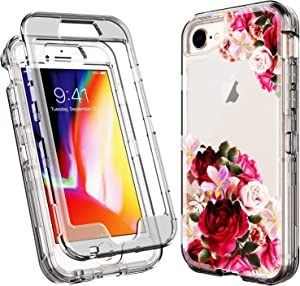 ACKETBOX iPhone SE 2020 Case/iPhone 8 Case/iPhone 7 Case Floral Design Hard PC Back Case and Clear Bumper + TPU Full Body Protective Cover for New iPhone SE (2nd)/8/7/6 (4.7 Inch)- (Flowers)
