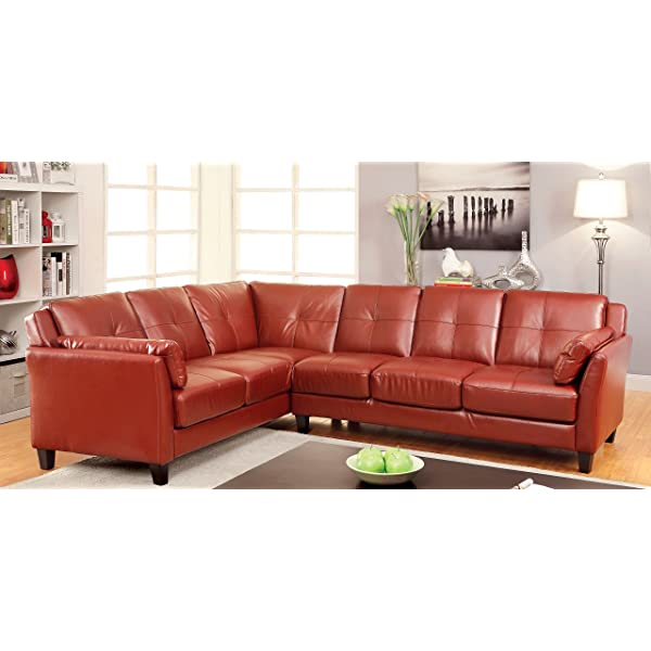HOMES: Inside + Out Maddina Tufted Faux Leather Sectional, Red