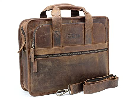 f6cbcab8a697 Scaramanga Brown Leather Briefcase Bag  Amazon.co.uk  Luggage