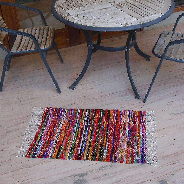 51Cm X 81Cm RAJRANG BRINGING RAJASTHAN TO YOU Tapis Indien Chindi-Tapis De Cuisine en Tissu Recycl/é Tapis Salon De D/écoration De Sol