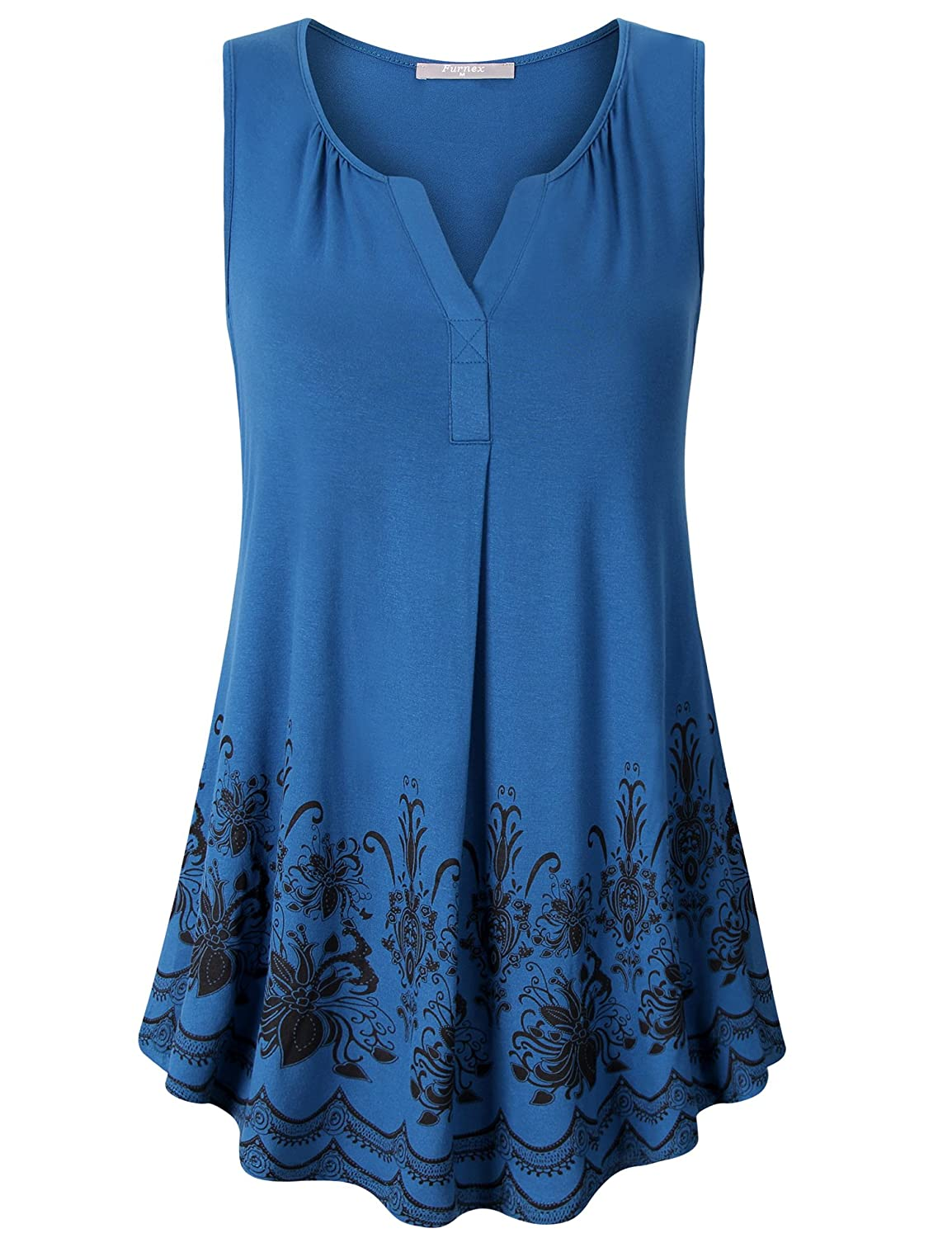 80b66a263cc Furnex Women\'s Summer Sleeveless Tunics Floral Casual Loose Comfy Flowy Tank  Tops Model # AD13 These sleeveless floral tunic tanks are super soft and ...