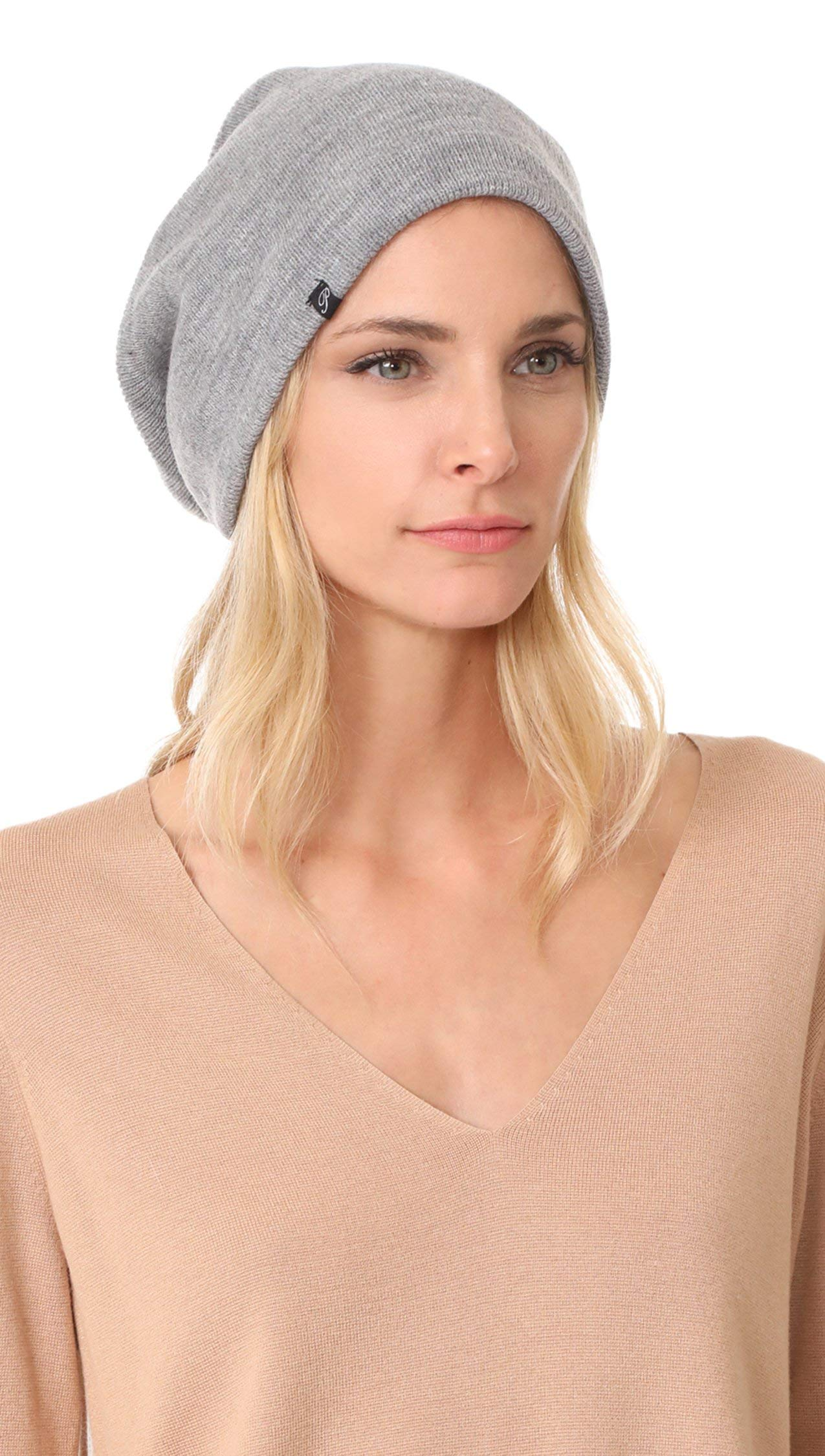 Plush Barca Slouchy Fit Fleece Lined Beanie Hat (Grey)