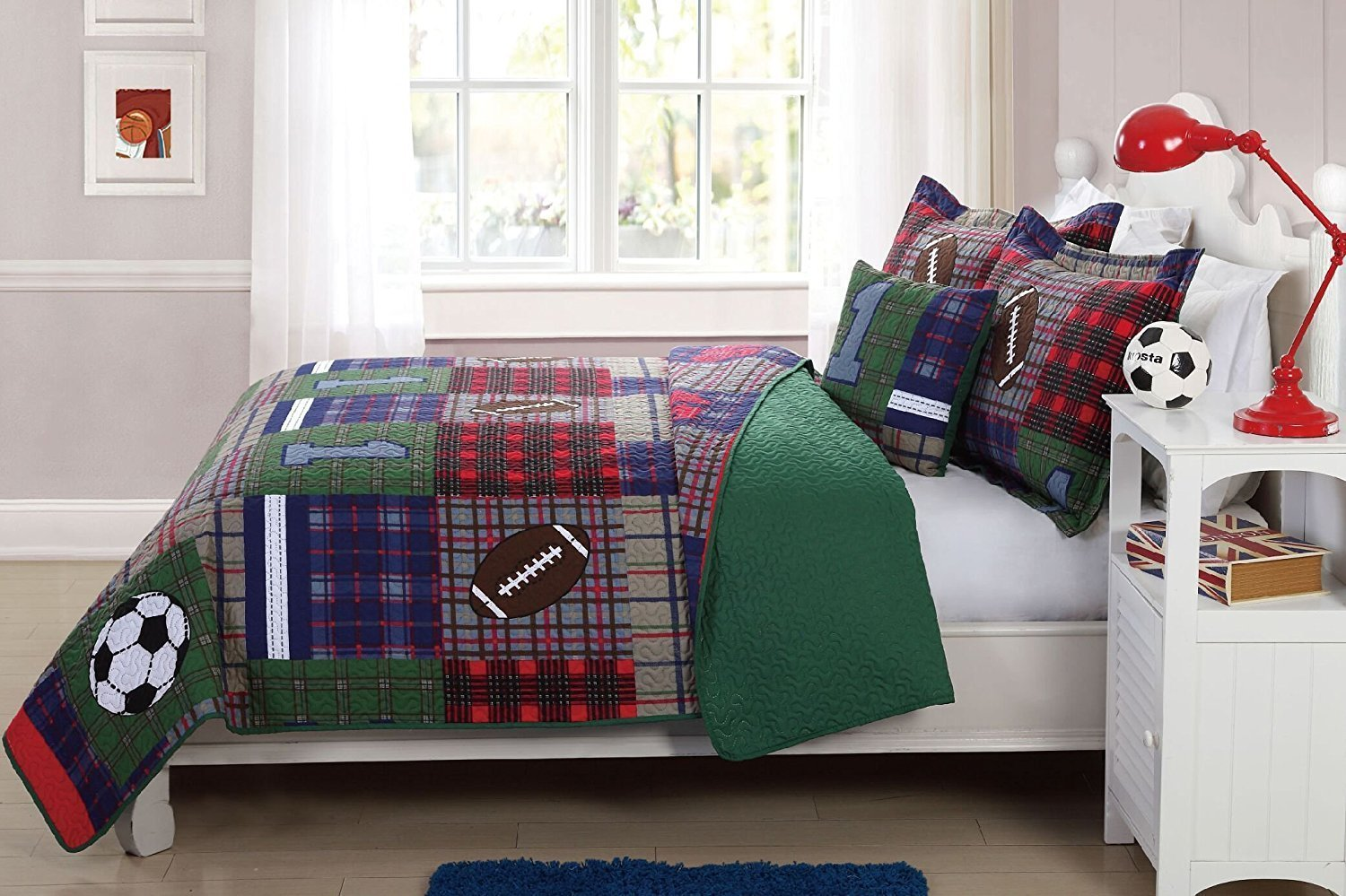 Elegant Home Patchwork Sports Soccer Football Design Multicolor Dark Blue Green Red Fun Colorful 3 Piece Quilt Bedspread Bedding Set with Decorative Pillow for Kids/Boys (Twin Size)
