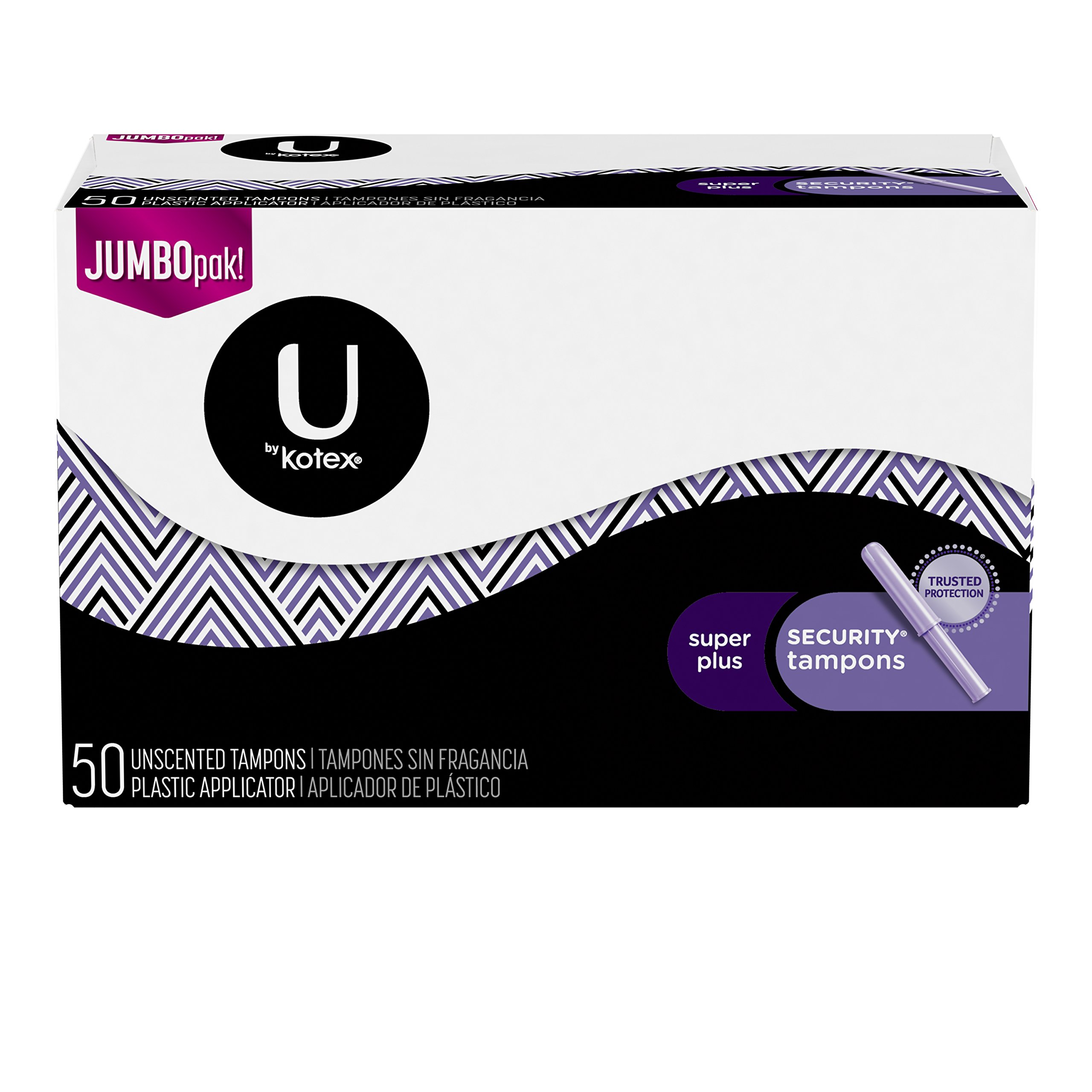 U by Kotex Security Tampons, Super Plus Absorbency, Unscented, 3 Packs of 50 Count