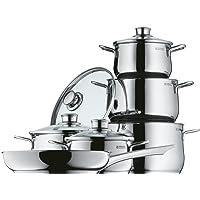 WMF Diadem Plus Topfset, 6-teilig, mit Glasdeckel, Kochtopf, Pfanne, Cromargan Edelstahl poliert, induktionsgeeignet, spülmaschinengeeignet