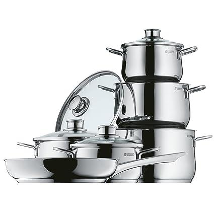 WMF Diadem Plus Batería de Cocina (6 Piezas), Cristal, Acero Inoxidable Cromargan, Apta para Todo Tipo de cocinas Incluso inducción