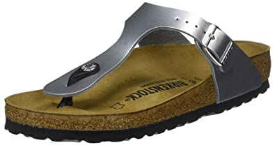bac9020aa46 Image Unavailable. Image not available for. Color  Birkenstocks Gizeh  Birko-Flor Sandals in Soft Metallic Silver ...