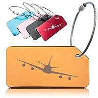 OctiLUX Luggage Tags for Travel Suitcase Durable Aluminium Aeroplane Design 5 Pack Multicolour