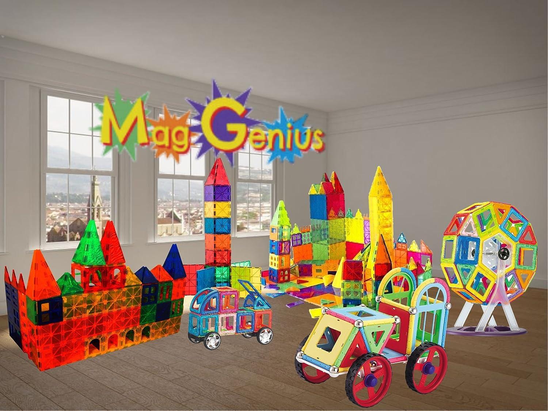 Magnet Tiles Mag-Genius Award Winning building Tiles Clear Colours 3D Brain Building Blocks Set Of 32 Pieces Mag-Genius KidsVoiceToys
