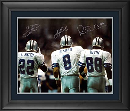 fe6f3649665 Image Unavailable. Image not available for. Color: Troy Aikman, Michael  Irvin, Emmitt Smith Dallas Cowboys Framed Autographed ...