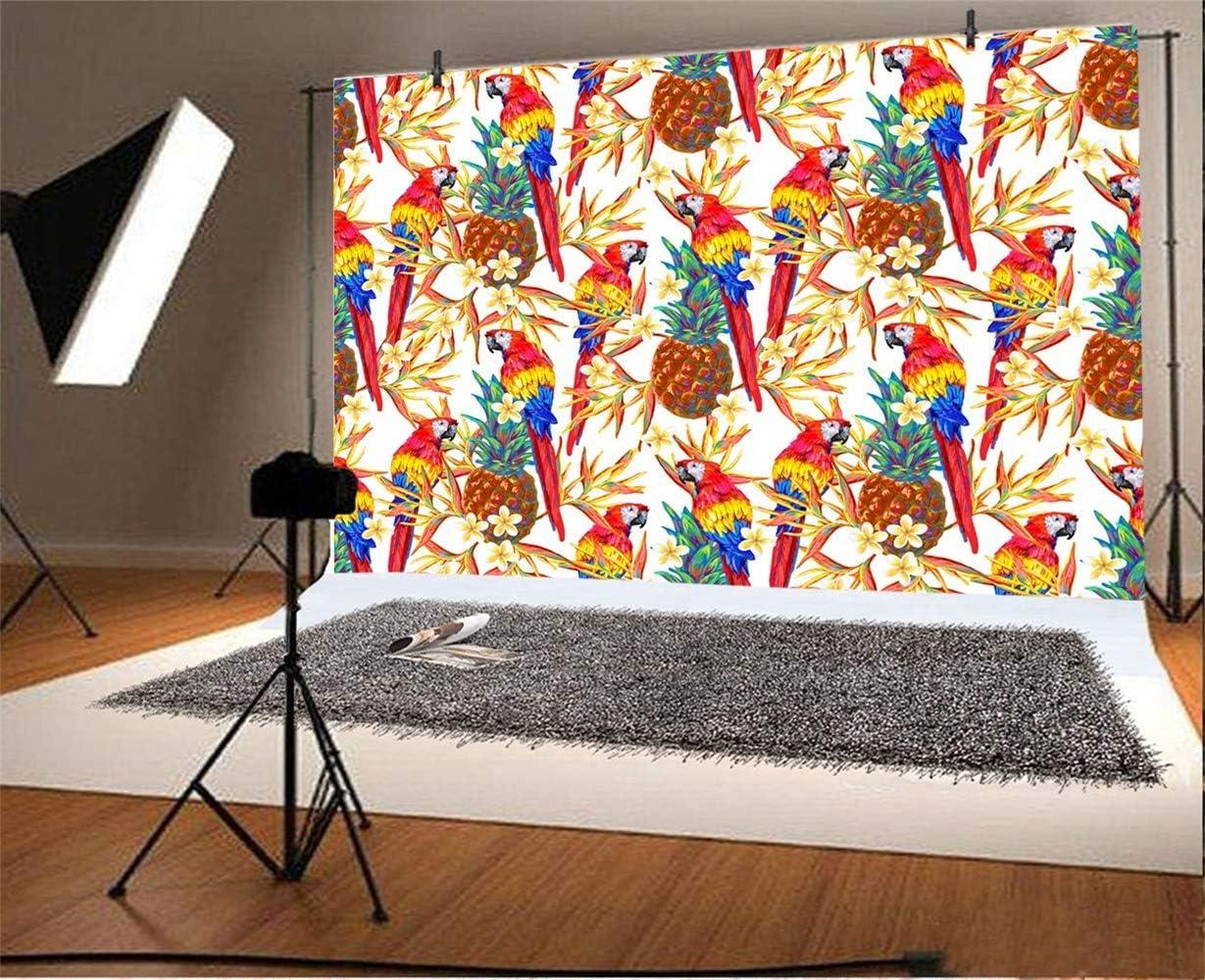 10x7ft Tropical Fruit Pineapples Flowers Parrots Illustration Vinyl Photography Background Child Adult Portrait Shoot Backdrop Summer Party Banner Indoor Decors Wallpaper Studio Props