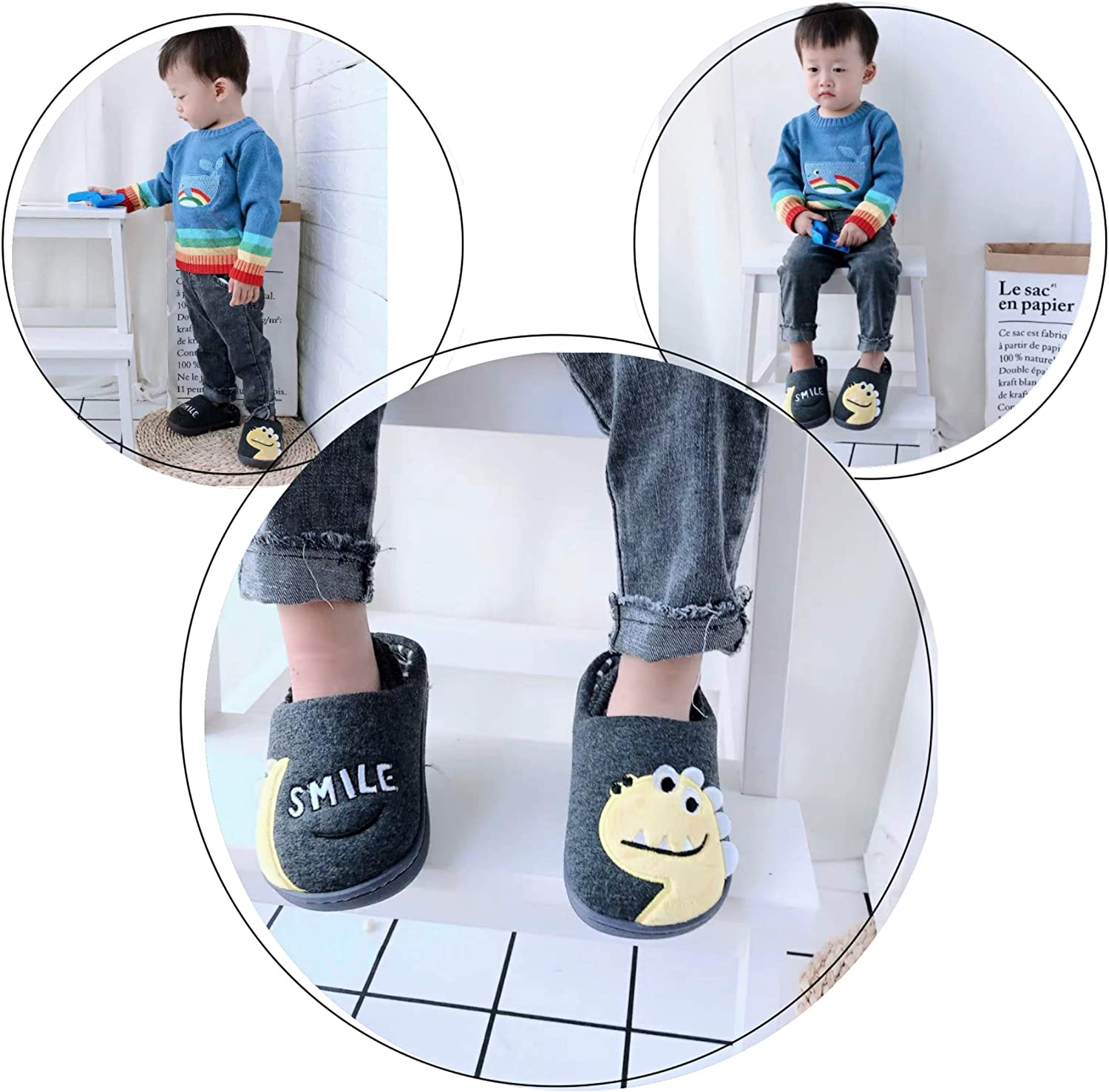 Coralup Kids House Slippers Dinosaur Indoor Shoes Cotton Plush Cotton Memory Foam Toddlers Boys Girls 4 Colors UK 7 Kids to UK 2.5