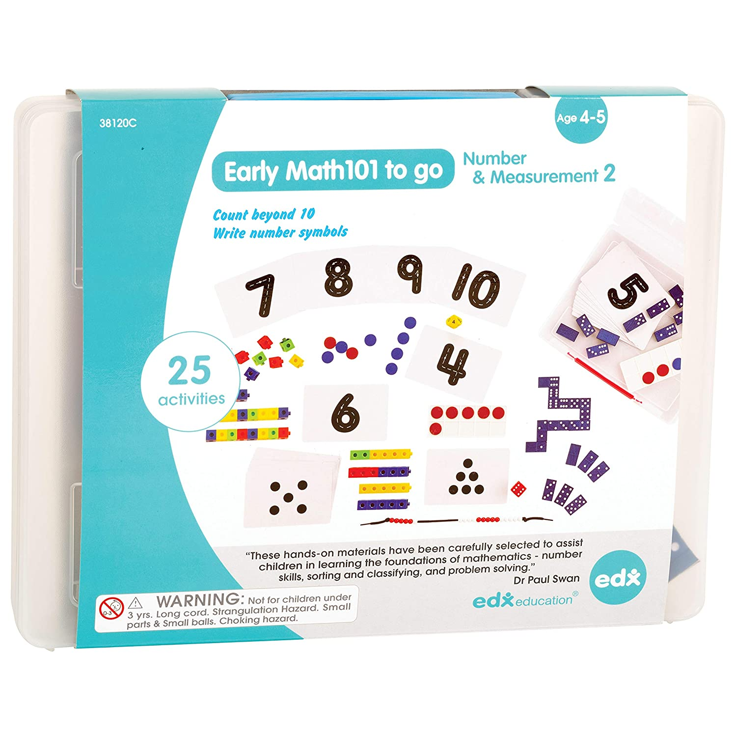 EdxEducation Early Math101 to go - Ages 4-5 - Number & Measurement - in Home Learning Kit for Kids - Homeschool Math Resources with 25+ Guided Activities