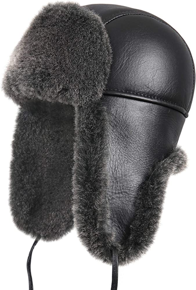 Genuine Black Shearling Sheepskin Fur Leather Ushanka Trapper Winter Hat