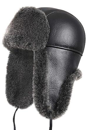 e2d6d1f35 Zavelio Women's Shearling Sheepskin Aviator Russian Trapper Fur Winter Hat
