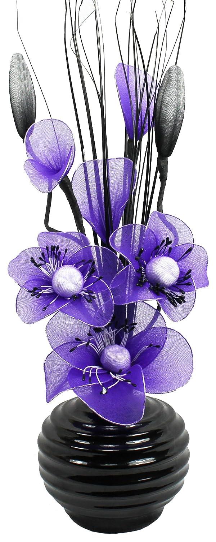 Flourish Fleurs artificielles en soie avec vase ovale pourpre 75cm, Teal/Blue, 1 Flourish Creative Florals 5055278705855