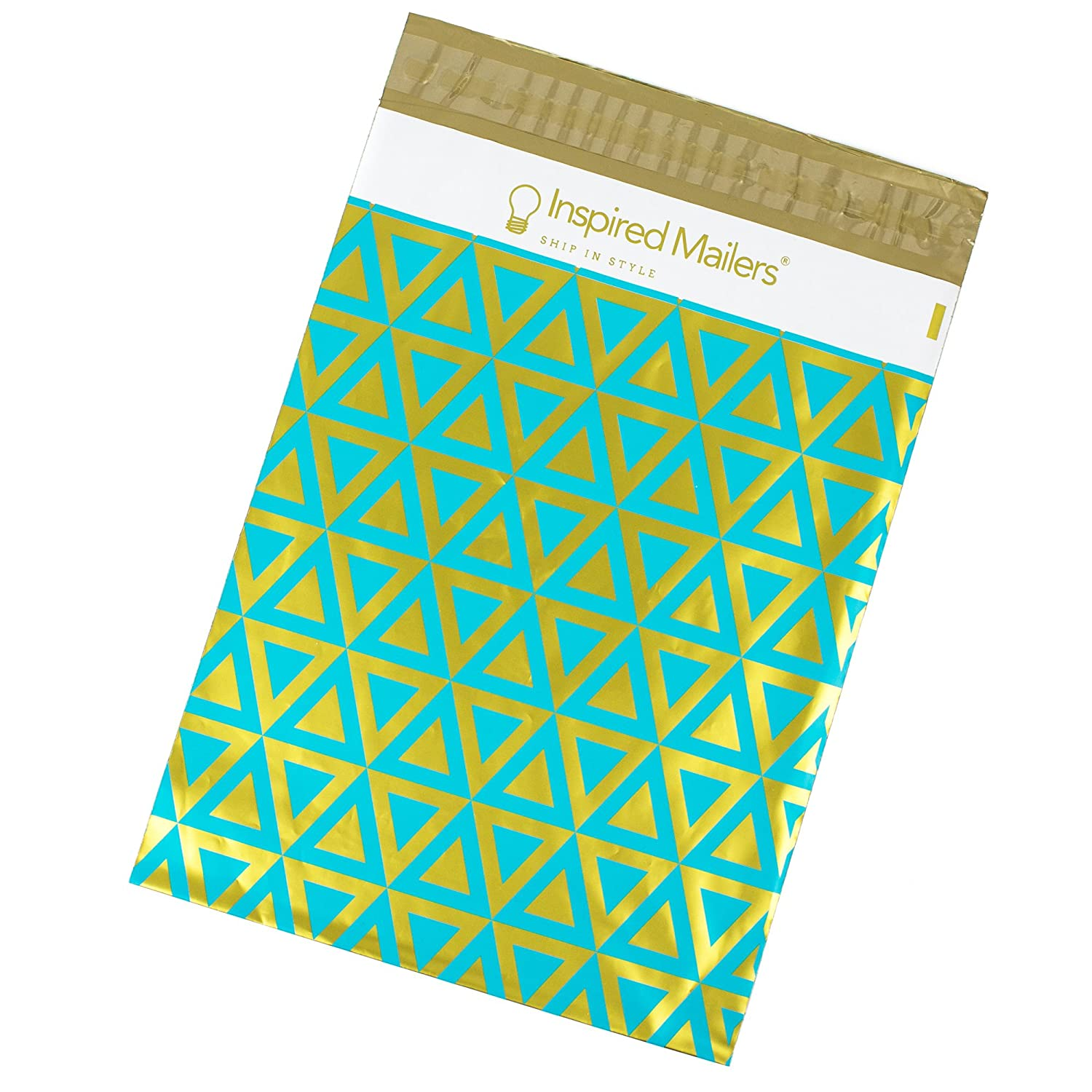 Poly Mailers 10x13 - DELUXE Gold and Aqua Triangles Print - Premium Unpadded Shipping Envelopes – Pack of 100