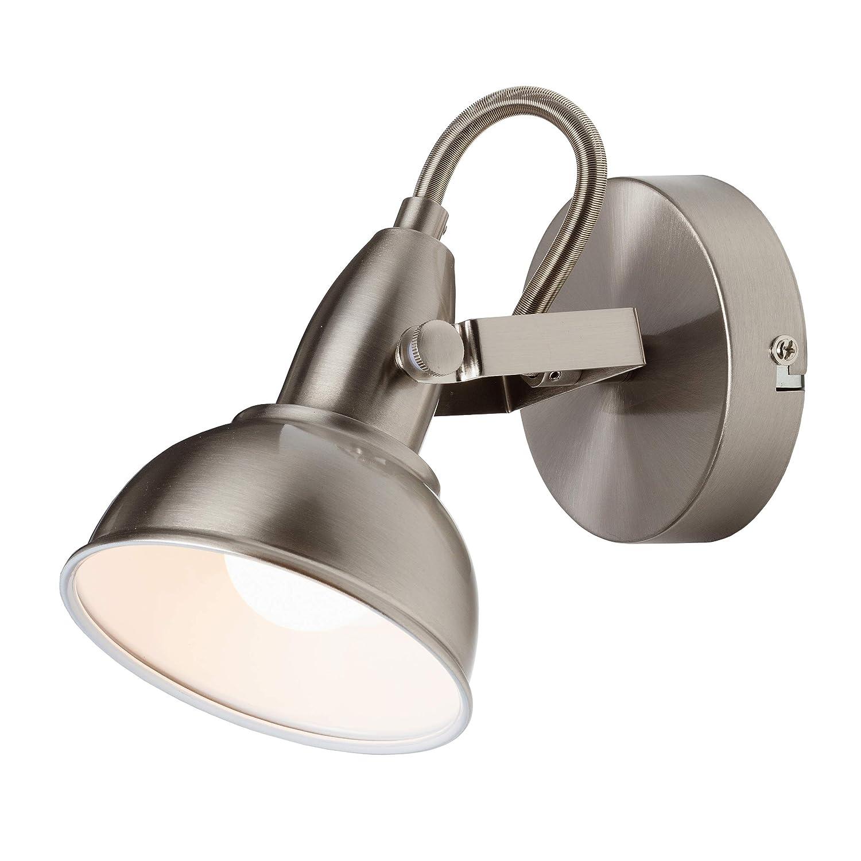 Briloner Leuchten Wandleuchte mit dreh- & schwenkbarem Spot, Wand-Lampe, Strahler im Vintage-/ Retro-Design, max. 40 W, 15.6 x 10 x 15.6 cm 2049-012