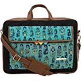 Funk For Hire Doll Printed Pocket Navy Cotton Canvas Laptop Bag