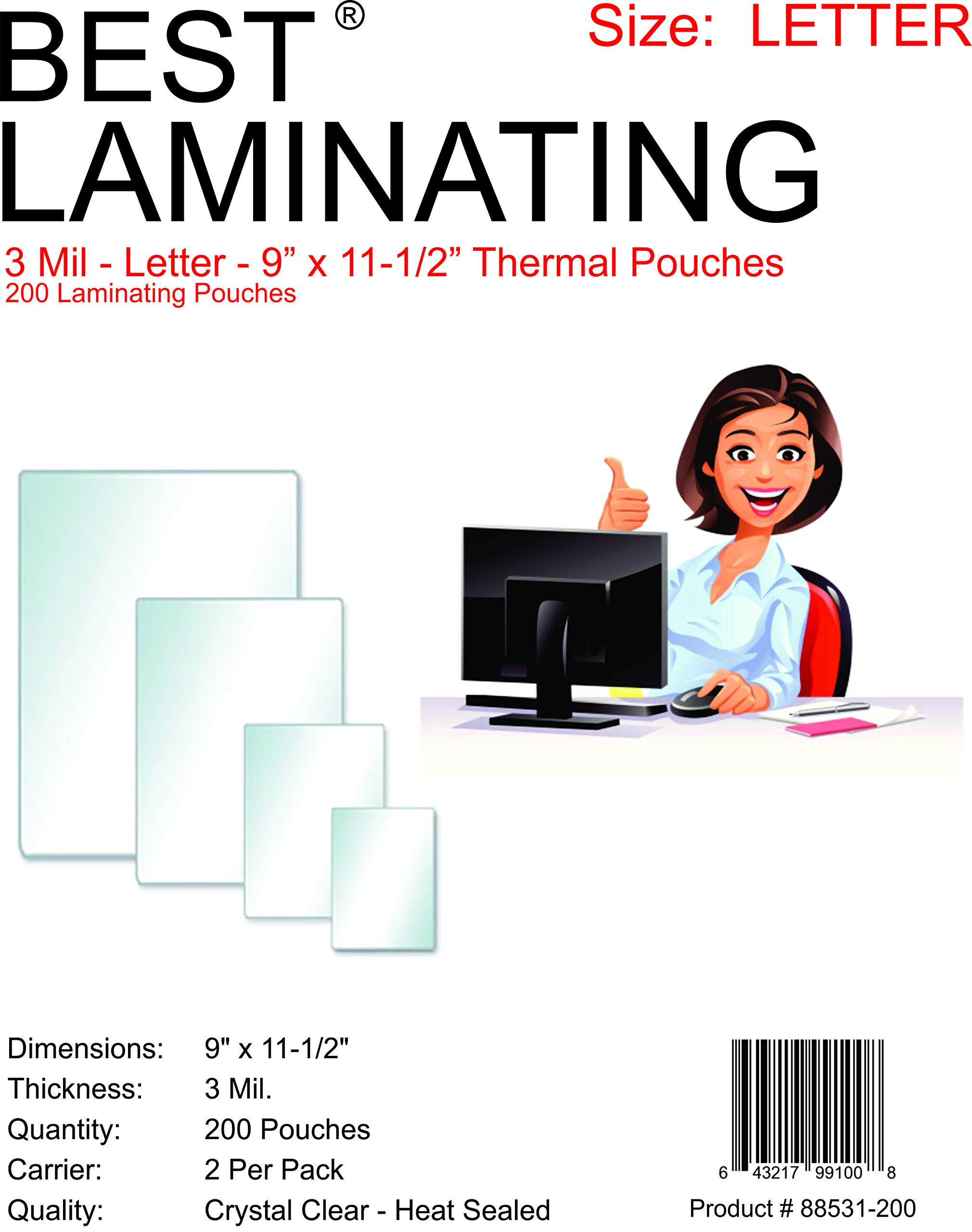 Best Laminating 200 Pouches, 3 Mil Clear Letter Size, Thermal Laminating Pouches, 9'' X 11.5'' (200 Pouches) by Best Laminating®