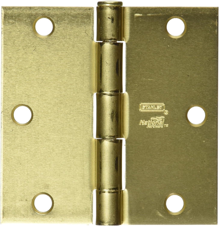 "Stanley Hardware Square 4/"" Satin Brass Residential Door Hinges Lot of 6"