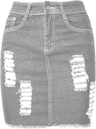New Ladies Denim Ripped Distressed Skirt Womens Raw Edges Faded Bodycon  Skirt
