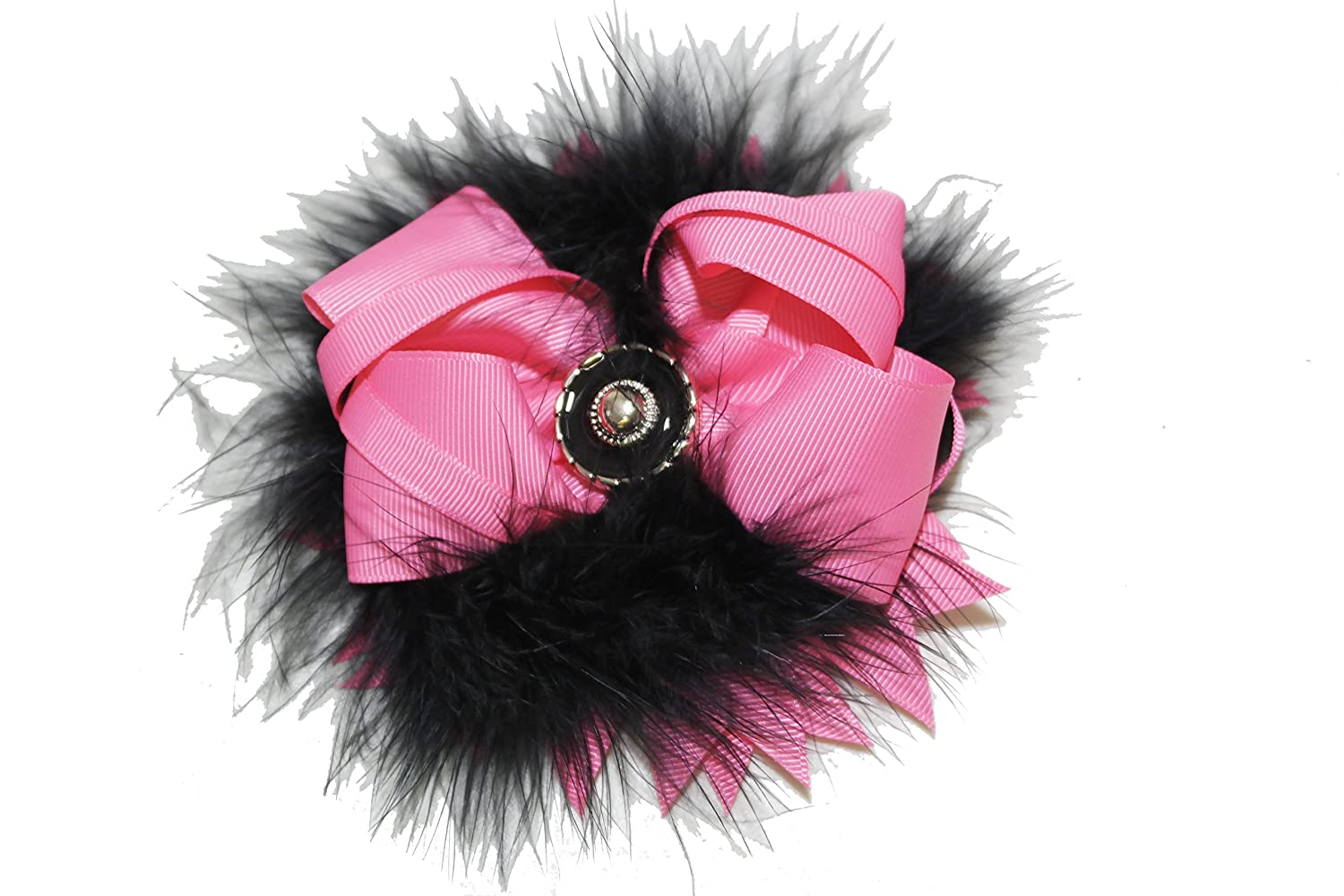 Hot Chicky Chicky Bling Bling Marabou Feather Flower Shaped Hair Bow black and pink for sale