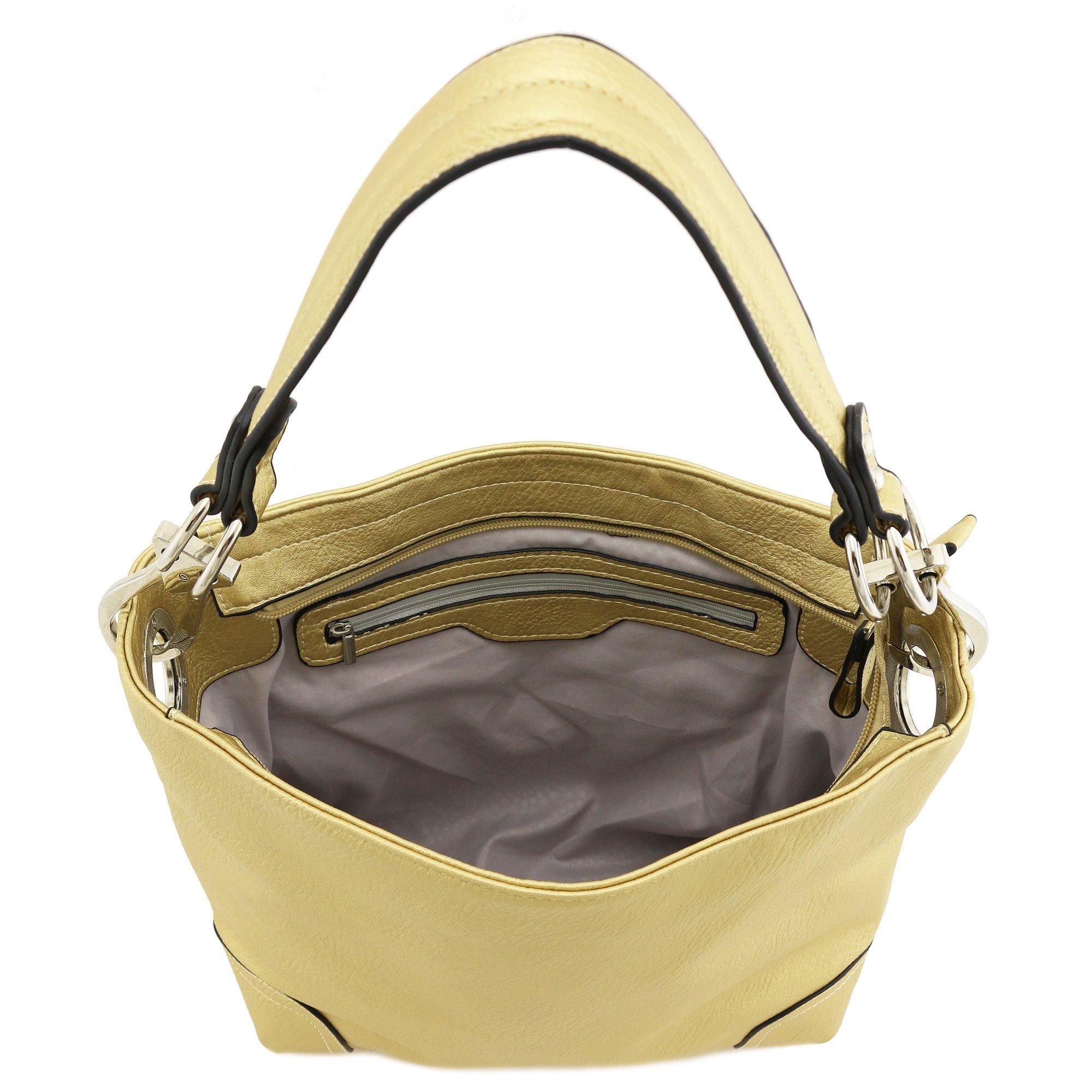 Hobo Shoulder Bag with Big Snap Hook Hardware (Gold) by Alyssa (Image #6)