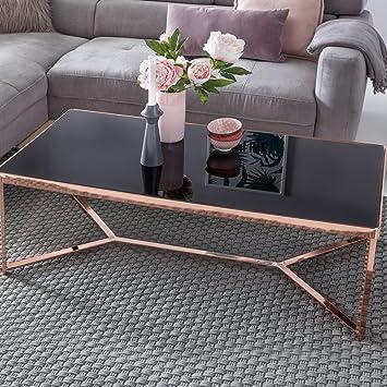 Finebuy Design Couchtisch Cross Kupfer Schwarz Glas 120 X 60 X 40 Cm