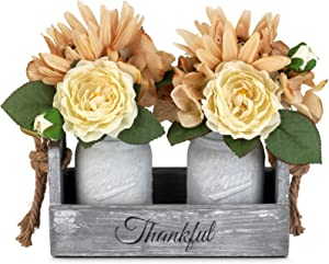 GBtroo Mason Jar Table Centerpiece with Flower-Rustic Farmhouse Kitchen Table Decor Centerpiece for Home Coffee Table Dining Room,Living Room Kitchen(White, Medium)