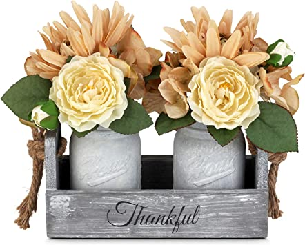 Gbtroo Mason Jar Table Centerpiece With Flower Rustic Farmhouse Kitchen Table Decor Centerpiece For Home Coffee Table Dining Room Living Room Kitchen White Medium Amazon Ca Tools Home Improvement