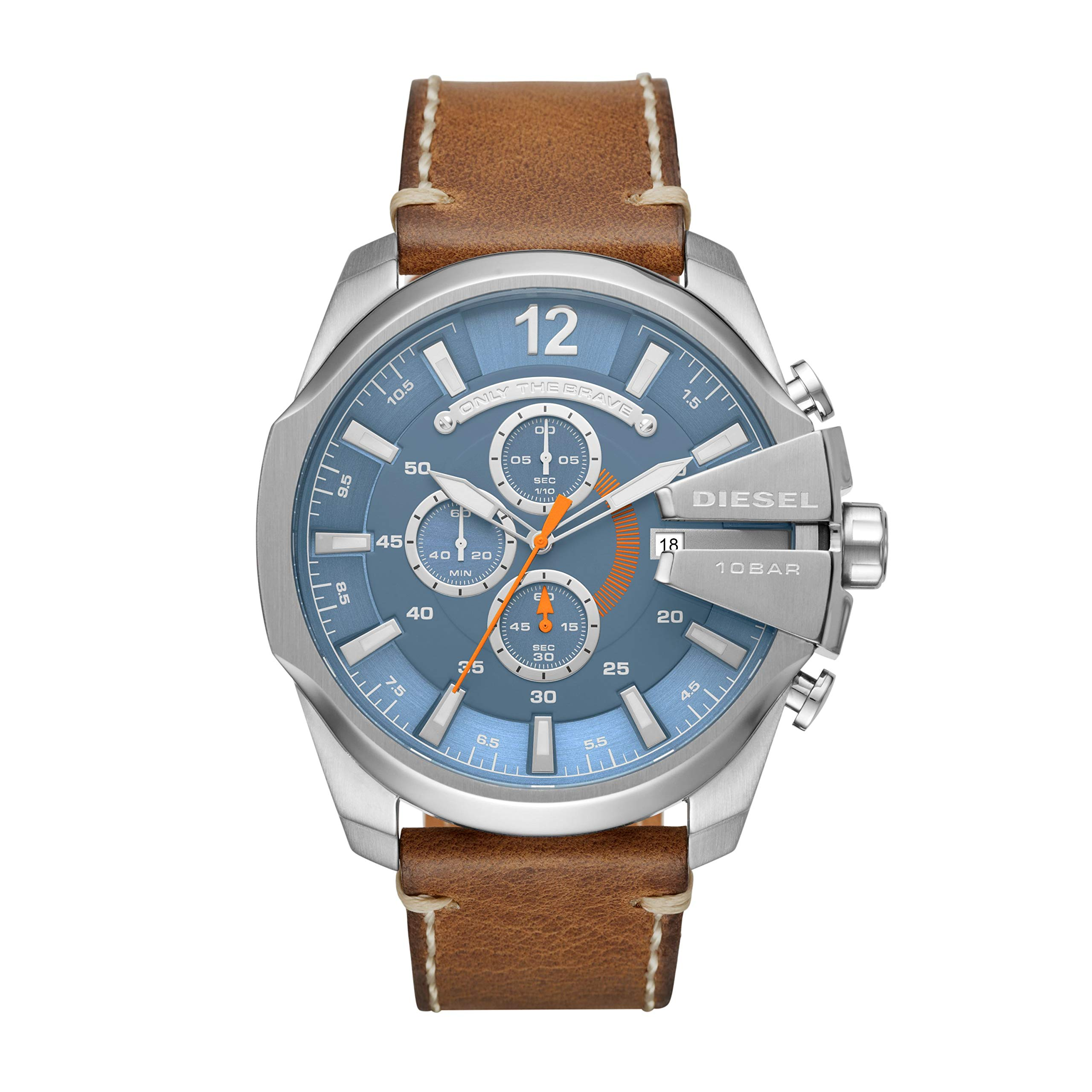 Diesel Men's Mega Chief Stainless Steel Japanese-Quartz Watch with Leather Calfskin Strap, Brown, 26 (Model: DZ4458)