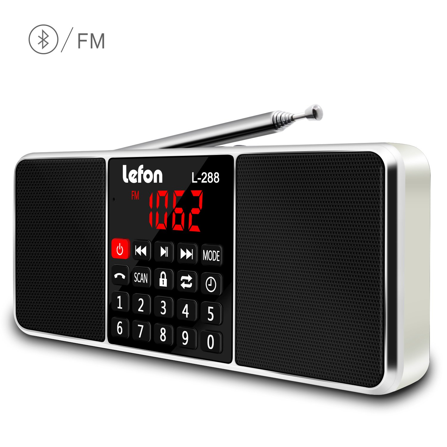 LEFON Multifunction Digital AM FM Radio Bluetooth Media Speaker MP3 Music Player Support TF Card/USB Disk with LED Screen Display and Setting Timing Shutdown Function (Gold-Upgraded Version)