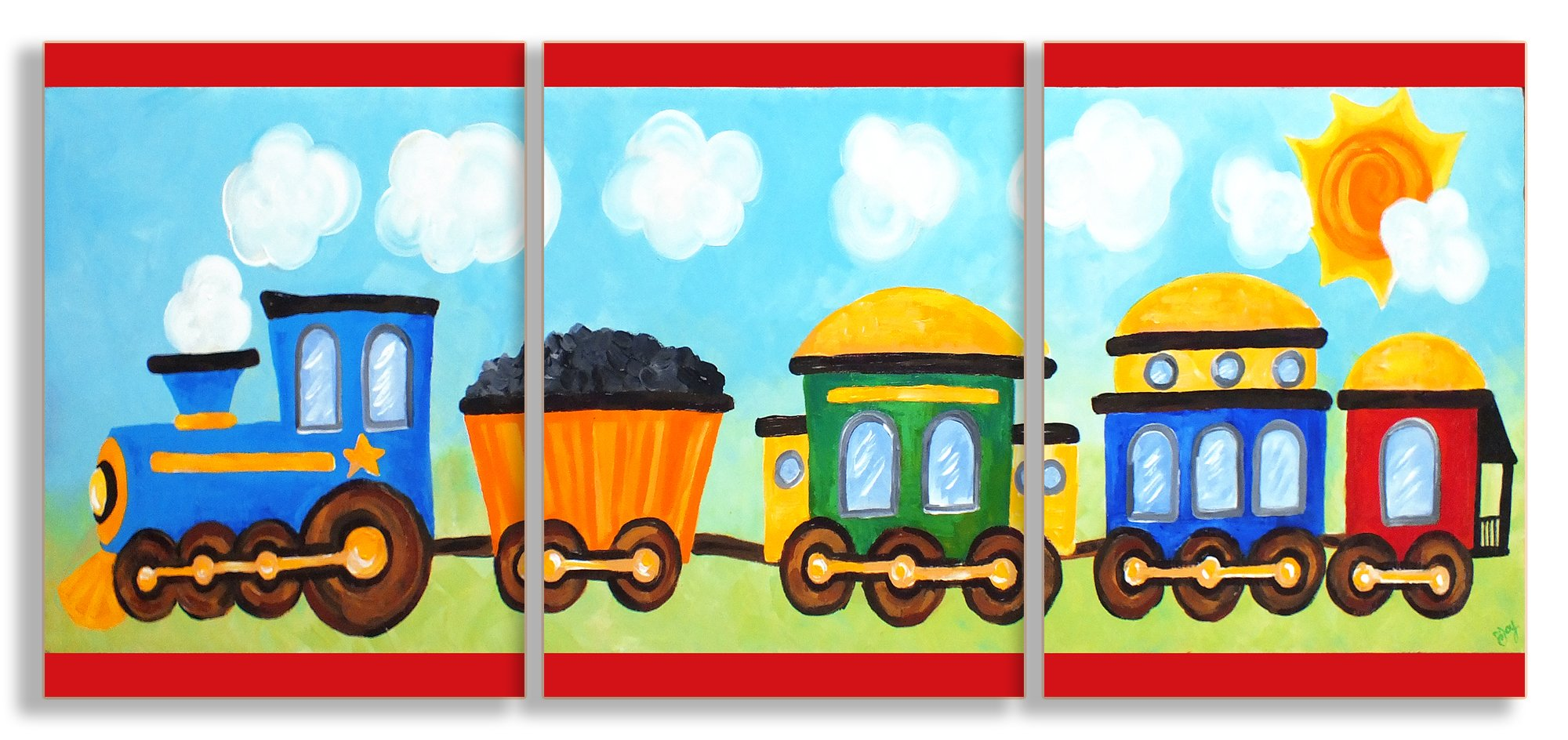 The Kids Room by Stupell Choo Choo Train in The Sun 3-Pc. Rectangle Wall Plaque Set, 11 x 0.5 x 15, Proudly Made in USA by The Kids Room by Stupell